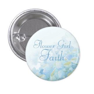 Hydrangea blue green flower girl wedding pin