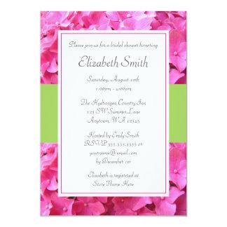 Hydrangea Border Pink Green Bridal Shower 13 Cm X 18 Cm Invitation Card