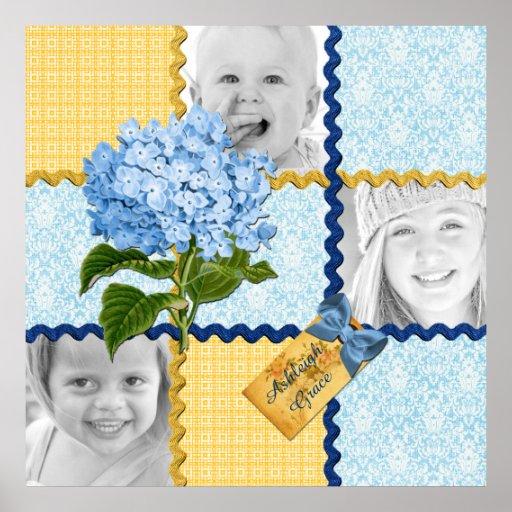 Hydrangea Custom Photo Quilt Frame Blue Yellow Poster