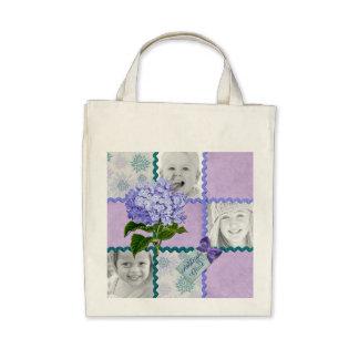 Hydrangea Custom Photo Quilt Frame Purple Teal Bag