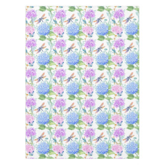 Hydrangea dragonfly lavender blue floral tablecloth