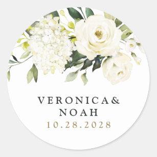 Hydrangea Elegant White Gold Rose Floral Wedding Classic Round Sticker