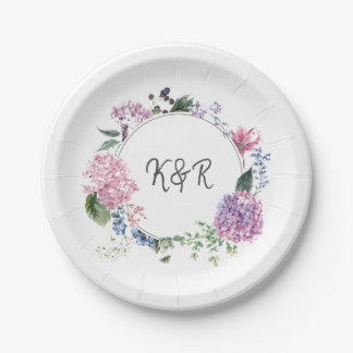 Hydrangea flower wreath wedding themed wedding paper plate