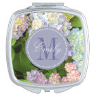 Hydrangea Flowers Monogram Personalised Compact Compact Mirror