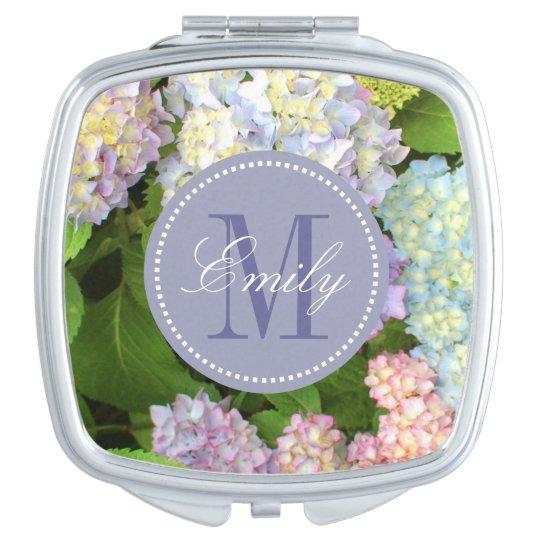 Hydrangea Flowers Monogram Personalised Compact Vanity Mirrors
