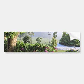 Hydrangea garden in the mist, Arzua, Spain 2 Bumper Sticker