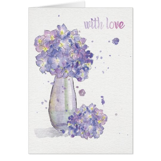 "Hydrangea Greeting Card ""with love"" 4 Mother's Day"