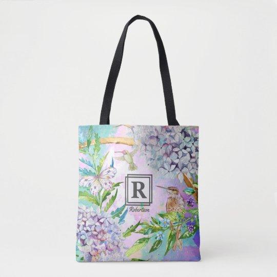 Hydrangea Hummingbird Floral Garden Monogram Tote Bag