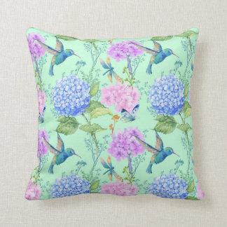 Hydrangea hummingbird lavender blue mint green cushion