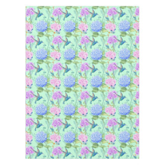 Hydrangea hummingbird lavender blue mint green tablecloth