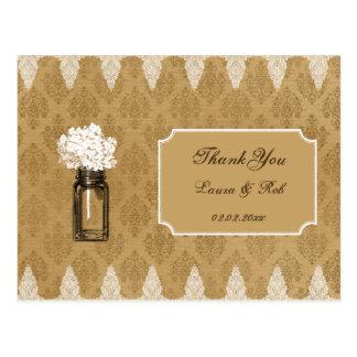 hydrangea in mason jar burlap wedding thank you postcard
