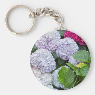 hydrangea in the garden basic round button key ring