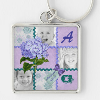 Hydrangea Instagram Photo Quilt Frame Purple Teal Silver-Colored Square Key Ring