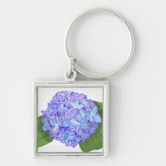 hydrangea Silver-Colored square key ring
