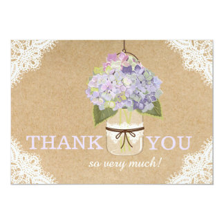 Hydrangea Lace Kraft Modern Rustic Thank You Card