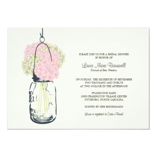 Hydrangea & Mason Jar Bridal Shower Card