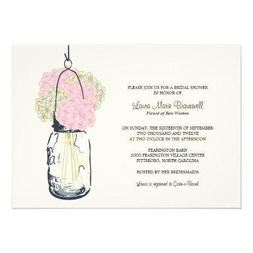 Hydrangea & Mason Jar Bridal Shower Announcement