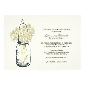 Hydrangea Mason Jar Bridal Shower Announcements
