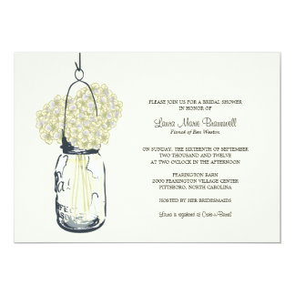 Hydrangea & Mason Jar Bridal Shower Announcements