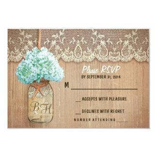 hydrangea mason jar rustic wedding RSVP cards 9 Cm X 13 Cm Invitation Card