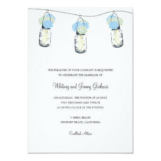 Hydrangea & Mason Jar Wedding Reception Card