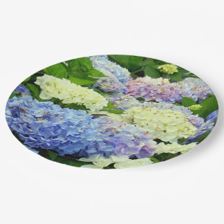 Hydrangea Mix, Floral-Paper Party Plates 9 Inch Paper Plate