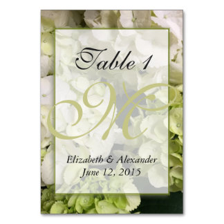 Hydrangea Monogram Personalized Table Card
