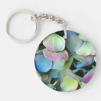 HYDRANGEA  Multi-color petals --- Double-Sided Round Acrylic Key Ring