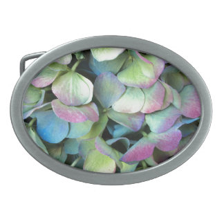 HYDRANGEA  Multi-color petals --- Oval Belt Buckles