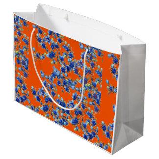 Hydrangea Orange and Blue Large Gift Bag