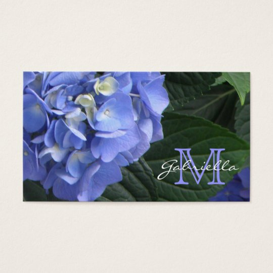 Hydrangea: Purple Monogram Business Cards