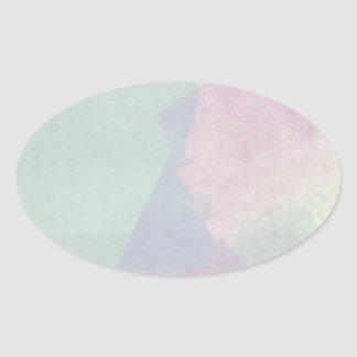 Hydrangea Series Watercolor Abstract Opal Oval Sticker