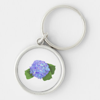 hydrangea Silver-Colored round key ring