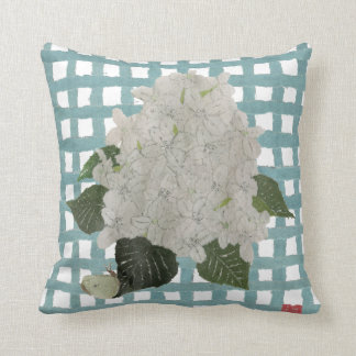 Hydrangea Snowball and Gingham Plaid Pillow