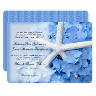 Hydrangea Starfish Parents Names Wedding Invite