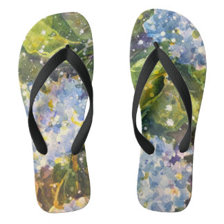 Hydrangea watercolor flip flops