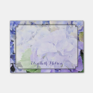 Hydrangea Watercolor Lilac & Blue Custom Post-it Notes