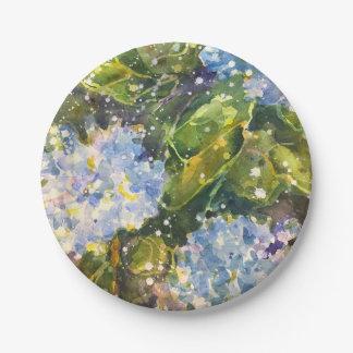 Hydrangea watercolor print paper plates