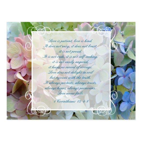 Hydrangea Wedding Save the Date Postcard Scripture