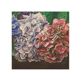 Hydrangeas 2010 wood wall art