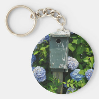 Hydrangeas and Bird Houses Basic Round Button Key Ring