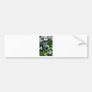 Hydrangeas and Bird Houses Bumper Sticker