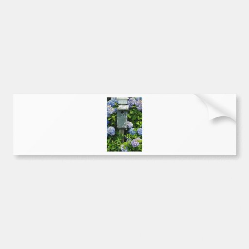 Hydrangeas and Bird Houses Bumper Stickers