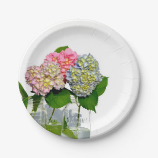 Hydrangeas and Mason jar Paper Plate