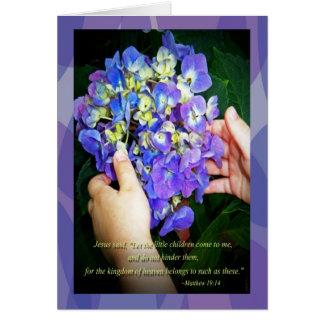 Hydrangeas and Matthew 19:14 Greeting Card