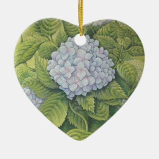 Hydrangeas at Lanhydrock, Cornwall in Pastel Ceramic Heart Decoration