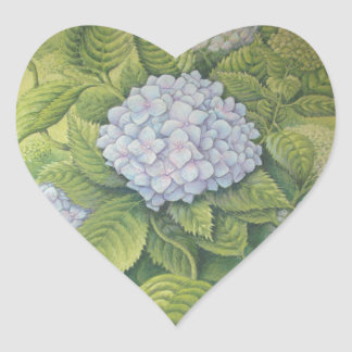 Hydrangeas at Lanhydrock, Cornwall in Pastel Heart Sticker