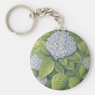 Hydrangeas at Lanhydrock, Cornwall in Pastel Key Ring