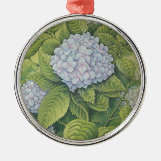 Hydrangeas at Lanhydrock, Cornwall in Pastel Silver-Colored Round Decoration