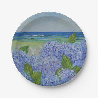 Hydrangeas By The Sea Paper Plate